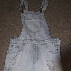 Light denim Overall skirt